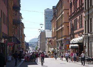 Götgatan - View of Götgatan from the top of the hill looking south. The Scotscraper rises on the right and Globen Arena can be seen in the distance.