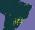 GBIF distributional map of Tabernaemontana catharinensis.png