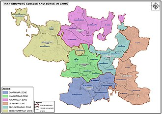The GHMC is divided into six municipal zones GHMC NEW ZONES,CIRCLE MAP.jpg