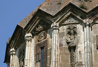 Culture of Artsakh - Relief sculptures on the dome of the Cathedral of St. John the Baptist of the Gandzasar Monastery (1216-1238)
