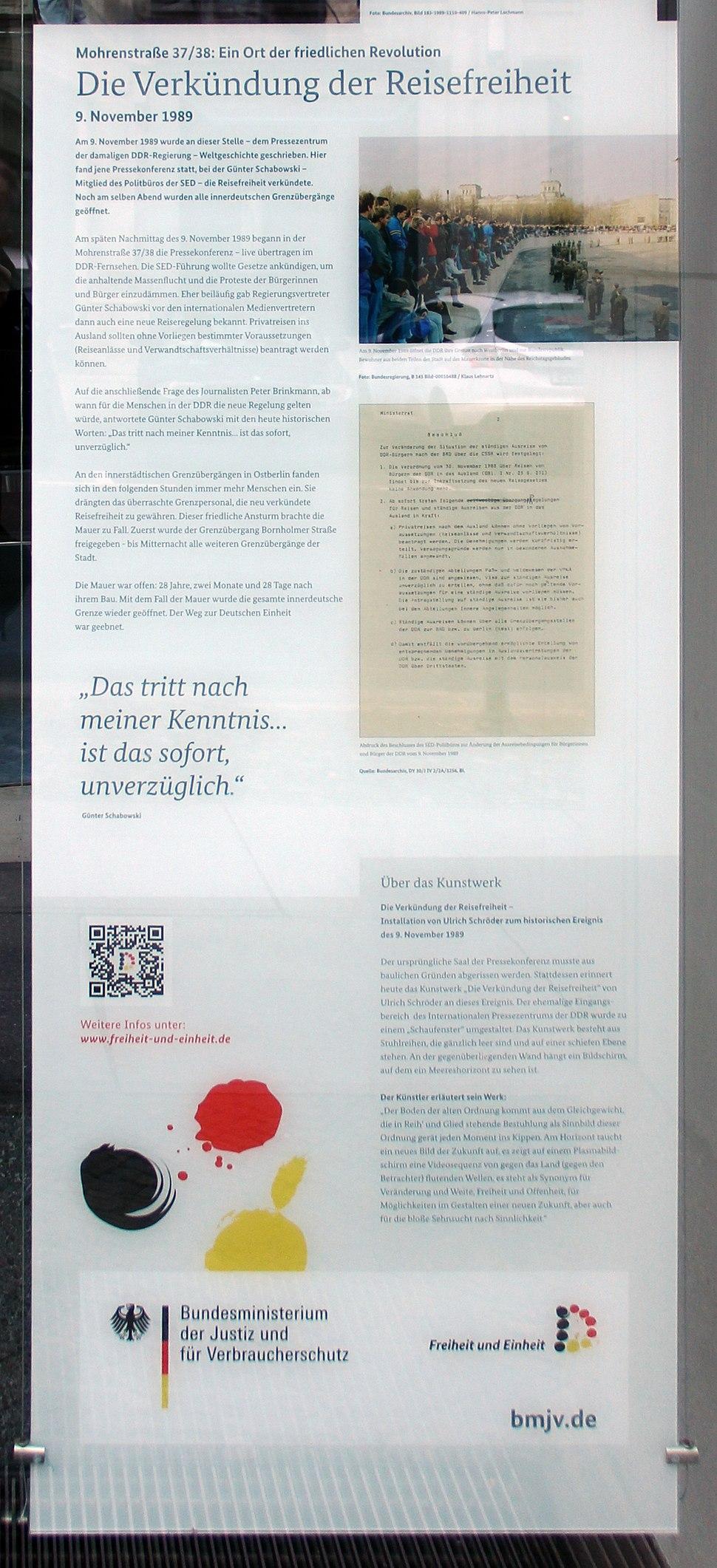 Gedenktafel Mohrenstr 36 (Mitte) Reisefreiheit