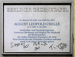 Photo of August Leopold Crelle white plaque