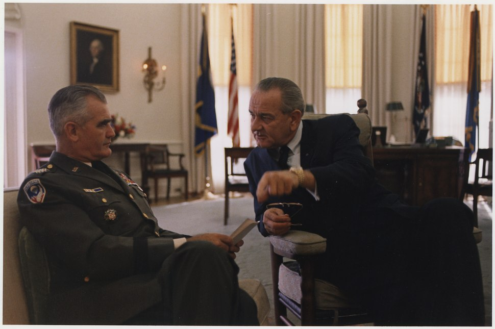 General William Westmoreland and President Lyndon B. Johnson in the Oval Office - NARA - 192557