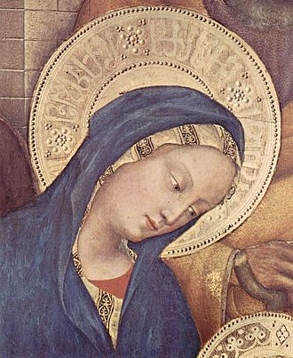Gentile da Fabriano - Pseudo-Arabic script in the Virgin Mary's halo, detail of Adoration of the Magi (1423) by Gentile da Fabriano. The script is further divided by rosettes like those on Mamluk dishes, executed in pastiglia