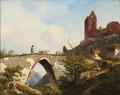 Georg Emil Libert - Parti fra Hammershus med en fårehyrde, der krydser en bro - 1856.png