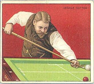 Carom billiards - George Sutton tobacco card, c. 1911. The game shown is balkline.