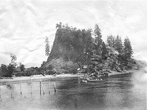 Sarah Dixon (sternwheeler) - Mount Coffin in 1900, scene of the sinking of Sarah Dixon on December 19, 1900.