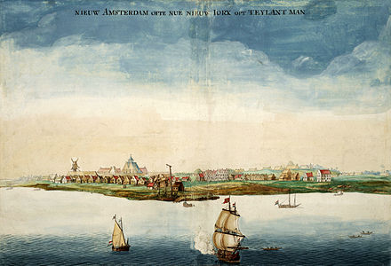 A drawing by Johannes Vingboons of the city of New Amsterdam in 1664--the year the Dutch authorities surrendered the New Netherland colony to the English under Richard Nicholls and renamed New York GezichtOpNieuwAmsterdam.jpg