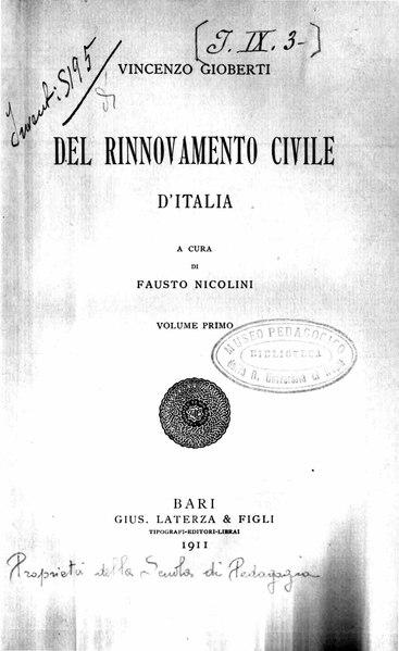 File:Gioberti - Del rinnovamento civile d'Italia, vol. 1, 1911 - BEIC 1832099.djvu