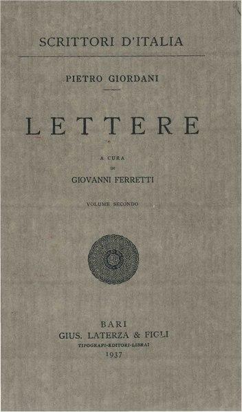 File:Giordani, Pietro – Lettere, Vol. II, 1937 – BEIC 1835113.pdf