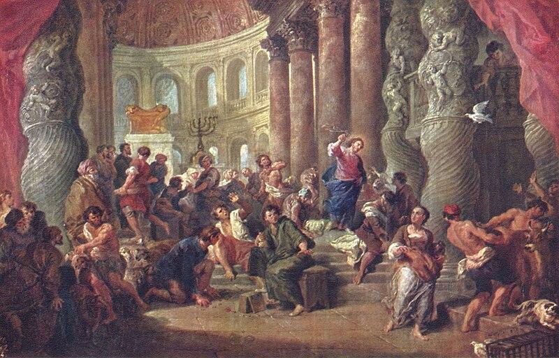 Jesús expulsando a los mercaderes del templo