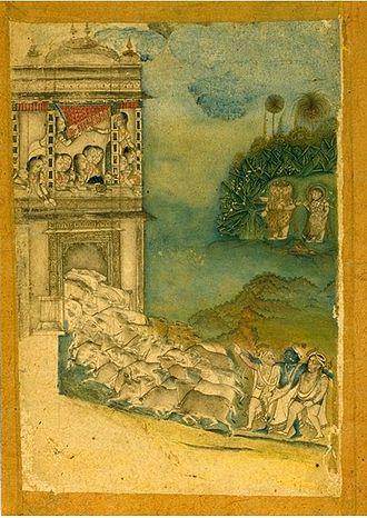 Rajput painting - Godhuli, Mewar, ca. 1813