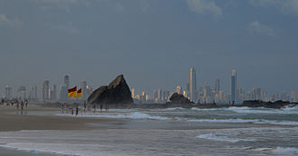 Currumbin, Queensland - The Gold Coast skyline from Currumbin Beach