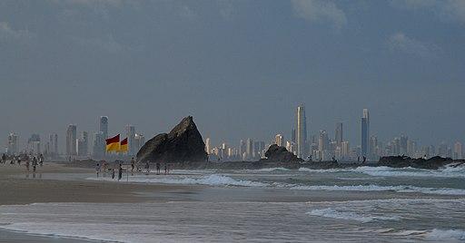 Gold Coast skyline from Currumbin Beach