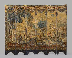 José Sarmiento de Valladares, 1st Duke of Atrisco - Reverse side of the folding screen, depicting a hunting scene. Brooklyn Museum