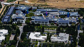 Googleplex - Aerial view of the Googleplex core buildings