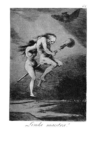 Flying ointment - Witches flying to the Sabbath : Capricho No. 68: Linda maestra (Pretty teacher) by Francisco Goya - from the series Los Caprichos