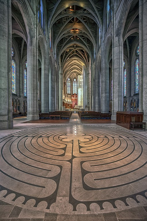 Grace Cathedral interior with labyrinth