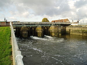 The Haven, Boston - The Grand Sluice at Boston, where the River Witham empties into The Haven. The lock is on the far right.