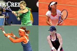 2011 WTA Tour - Kim Clijsters (top left) claimed her first Australian Open title and as well as her fourth (and last) Grand Slam title, defeating Li Na in the final. Li (top right) would go on to win her maiden Grand Slam title at French Open defeating defending champion Francesca Schiavone. Petra Kvitová (bottom left) won her maiden Grand Slam title at the Wimbledon defeating Maria Sharapova. Samantha Stosur (bottom right) won her maiden Grand Slam title at the US Open defeating Serena Williams in the final.
