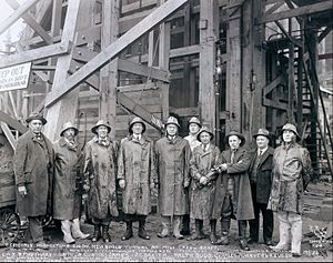 Ralph Budd - Budd is shown fourth from left in this 1926 photo at the Mill Creek shaft of the Cascade Tunnel