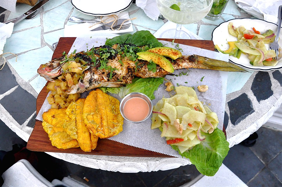 Grilled yellow snapper with green papaya salad and tostones