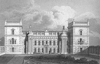 Grimsthorpe Castle - The North Front of Grimsthorpe as rebuilt by Vanbrugh, drawn in 1819. Vanbrugh's Stone Hall occupies the space between the columns on both floors.