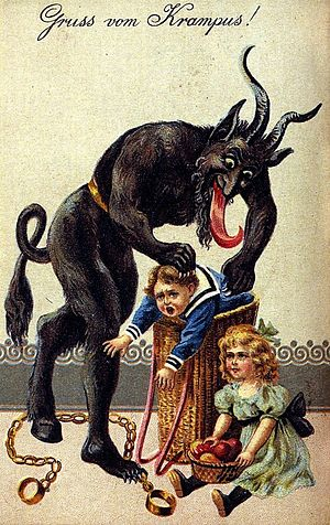 Krampus - A 1900s greeting card reading 'Greetings from Krampus!'