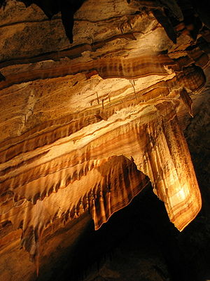 Flowstone - Flowstone suspended from the ceiling of Gunns Plains Cave, Tasmania, Australia