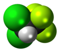 Space-filling model of the 2,2-dichloro-1,1,1-trifluoroethane molecule