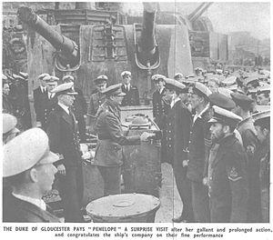 HMS Penelope (97) - HRH Duke of Gloucester visiting Penelope