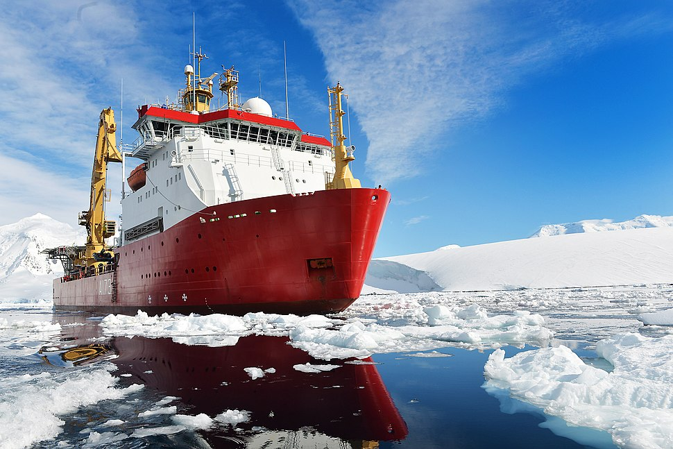 HMS Protector Assisting the Antarctic Community. MOD 45156397