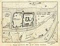 HUA-212010-Plattegrond van de burcht Trecht met omliggende bebouwing in opstand en de rivier de Oude Rijn.jpg