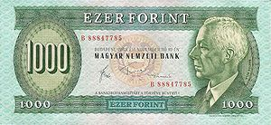 Béla Bartók on 1000 Hungarian forint banknote (1983, no longer used).