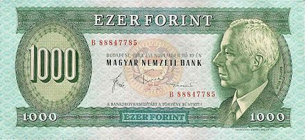 Bela Bartok's portrait on 1,000 Hungarian forint banknote (printed between 1983 and 1992; no longer in circulation) HUF 1000 1983 obverse.jpg