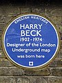 Harry Beck 1902 -1974 designer of the London Underground map was born here.JPG