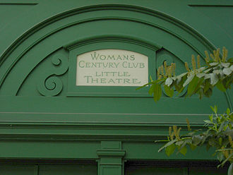 Capitol Hill (Seattle) - A club from a much earlier era: a sign over the rear door of the Harvard Exit Theatre recognizes the Woman's Century Club, founded in 1891; the club constructed the building in 1925 to serve as its clubhouse, and still meets there regularly.