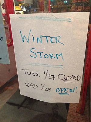 January 2015 North American blizzard - Harvard Square store closed in preparation for blizzard