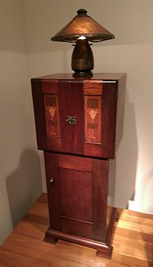 A Mahogany Music Cabinet With Maple Inlays Designed By Harvey Ellis And  Built By Craftsman Workshops, Approximately 1903. The Lamp Was Made By Old  Mission ...