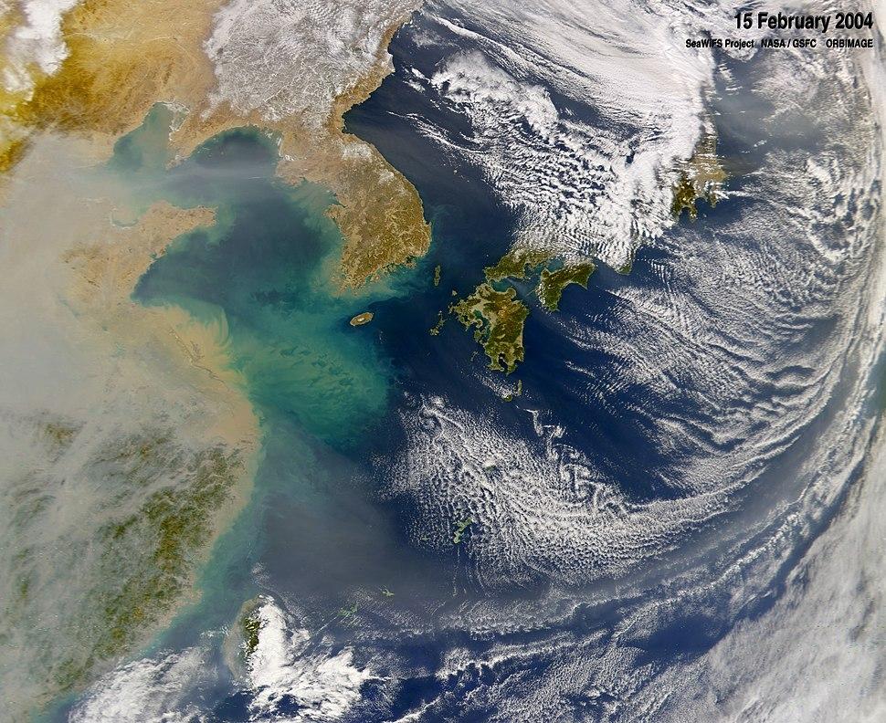 Haze over East China Sea, Feb 2004