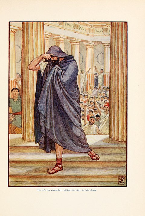 Illustration by Walter Crane of Demosthenes leaving the Assembly in shame after his first failure at public speaking, as described by Plutarch in his Life of Demosthenes
