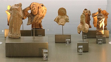 Hellenistic figurines from Tyre, from the collections of the National Museum of Beirut on display at Beirut International Airport (2019) HellenisticFigurines Tyre NationalMuseumOfBeirut Airport RomanDeckert09112019.jpg