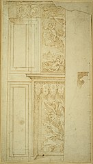 Design for the left-hand part of a fireplace