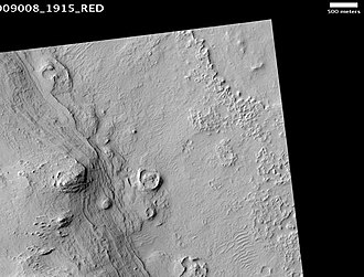 Henry (Martian crater) - Henry crater mound, as seen by HiRISE.