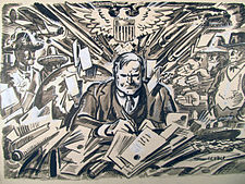 Herbert Hoover as the new President, March 17, 1929.by Oscar Cesare.original drawing.01.detail