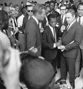 Brando with Charlton Heston, James Baldwin, and Harry Belafonte at the March on Washington for Jobs and Freedom, August 28, 1963