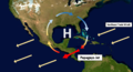 High-pressure systems is the synoptic scale phenomena that contributes to the formation of the Papagayo Jet.png