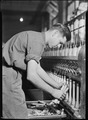 High Point, North Carolina - Textiles. Pickett Yarn Mill. Doffer in action - trying to portray doffer personality - NARA - 518518.tif