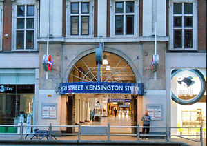 High Street Kensington tube station - Entrance is through Kensington Arcade