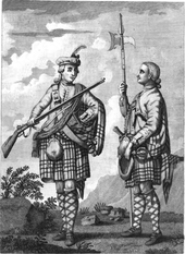 A black and white draing of two men wearing Scottish military garb, placed against a backdrop of countryside. Both are wearing kilts and argyled knee-length socks. One carries a musket, while the other has a halberd, and appears to have sword by his side.